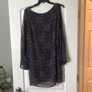 Long Flare Sleeve Printed Dress
